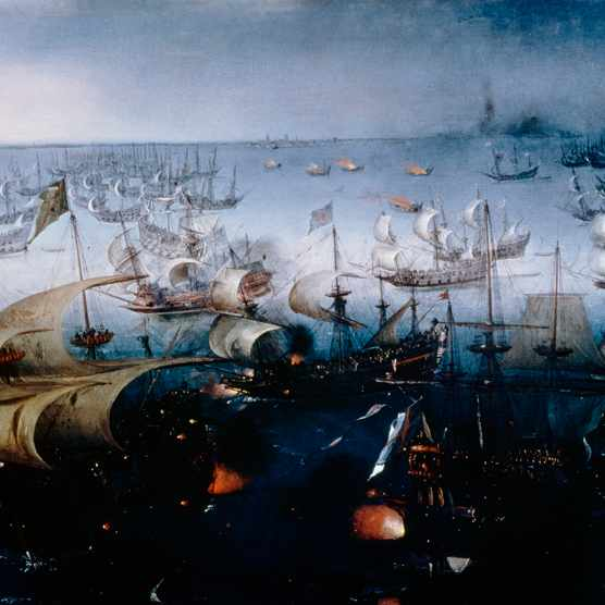 The Spanish Armada defeated in the English Channel in July 1588, by Hendrick Cornelisz Vroom (1566-1640), ca 1600, oil on canvas, 91x153 cm. Anglo-Spanish War, England, 16th century.