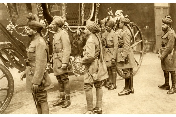 Indian cavalry soldiers in London, following a reception with George V, 1916. (Photo by Culture Club/Getty Images)