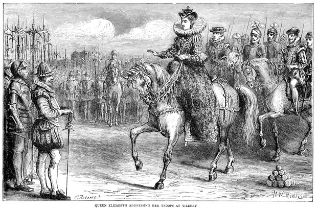 Engraving showing Queen Elizabeth I of England address her troops at Tilbury. (Photo by iStock / Getty Images Plus)