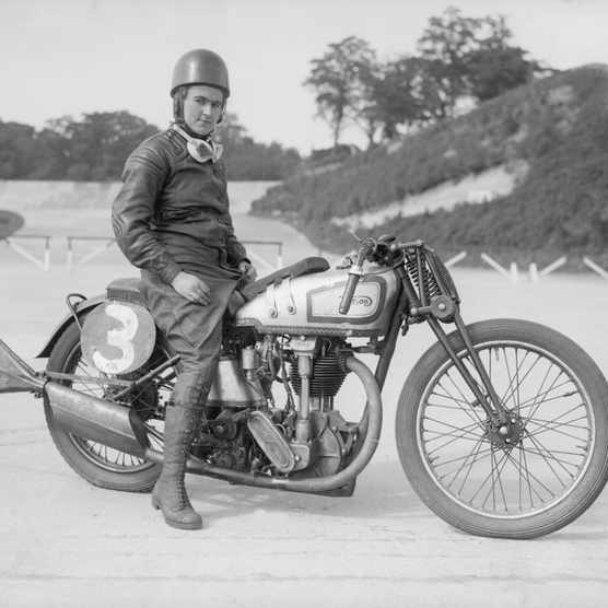 c1935: Beatrice Shilling sits astride her Norton motorcycle. (Photo by Fox Photos/Getty Images)