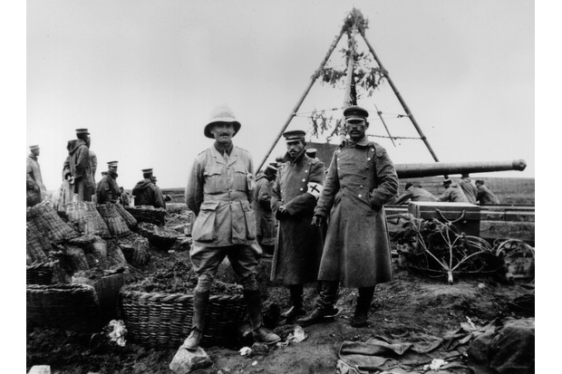 A British officer stands alongside two of his Japanese counterparts in 1914 in Tsingtao (now Qingdao). Japanese troops played a key role in the capture of that strategic German concession in north-east-China. (Photo by Hulton Archive/Getty Images)