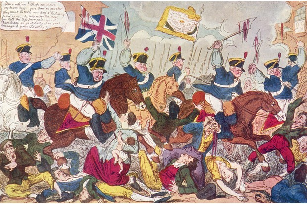 Painting by George Cruikshank, 'The Massacre of Peterloo or Britons Strike Home'. (Photo by Spencer Arnold Collection/Hulton Archive/Getty Images)