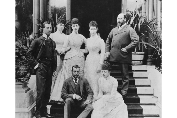 c1889, Edward, Prince of Wales (and future Edward VII) and his wife Alexandra, Princess of Wales (third from left) and their five children. From left, Albert Victor, Duke of Clarence; Maud, Queen of Norway; Louise, the Princess Royal, Duchess of Fife. Front, Prince George (future George V) and Princess Victoria. (Photo by Hulton Archive/Getty Images)