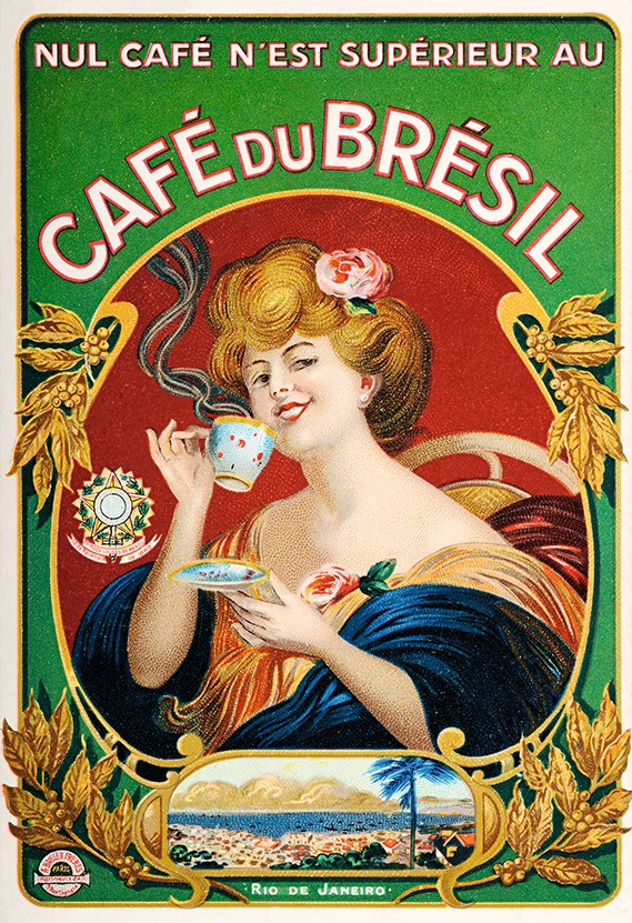 Black gold: A c1900 advertisement for Brazilian coffee. During the previous century the expanding coffee industry demanded huge amounts of manual labour, fuelling the transatlantic slave trade. (Photo by Popperfoto/Getty Images)