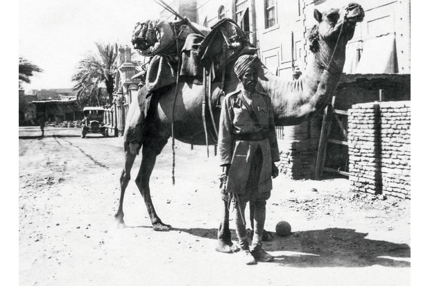 A camel trooper of the British Indian Army in Baghdad, 1915. At the time of the war, the volunteer army numbered 240,000 men. (Photo by Getty Images)