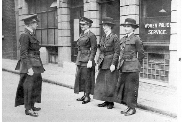 Policewomen being inspected by Mary S Allen, a former WPSU organiser, in London, May 1915. (Photo by Museum of London/Heritage Images/Getty Images)