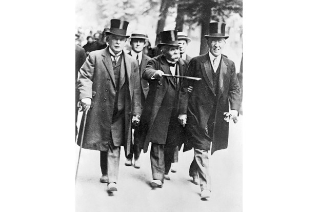 British prime minister David Lloyd George, French premier Georges Clemenceau and US president Woodrow Wilson in Paris during negotiations for the Treaty of Versailles. (Photo by Bettmann/Getty Images)