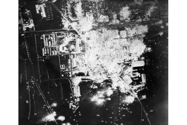 A reconnaissance photograph taken over Gotha, central Germany in 1944 shows the damage the Allies were able to inflict on the Nazis' industrial capacity. (Photo by Getty Images)