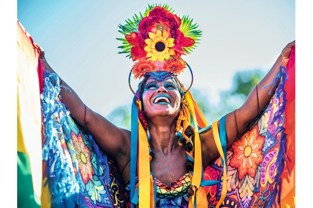 Rainbow nation: A Brazilian woman of African descent in Rio de Janeiro during Carnaval, a Catholic festival celebrated with African-influenced samba music. (Photo by Getty Images)