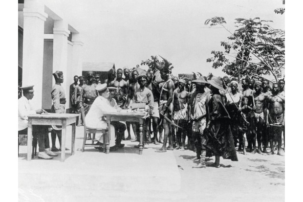 German officers recruiting in c1914 in Togoland, where the first shot was fired by a British soldier in the First World War. (Photo by Getty Images)