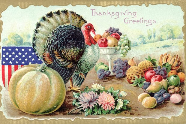 A 'Thanksgiving Greetings' postcard. (Photo by K.J. Historical/CORBIS/Corbis via Getty Images)