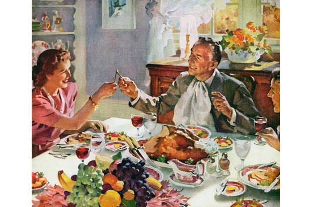 Since the colonial period, the meaning of thanksgiving days has varied quite a lot. In this 1940s illustration, a husband and wife break a wishbone of a turkey at Thanksgiving dinner. (Photo by GraphicaArtis/Getty Images)