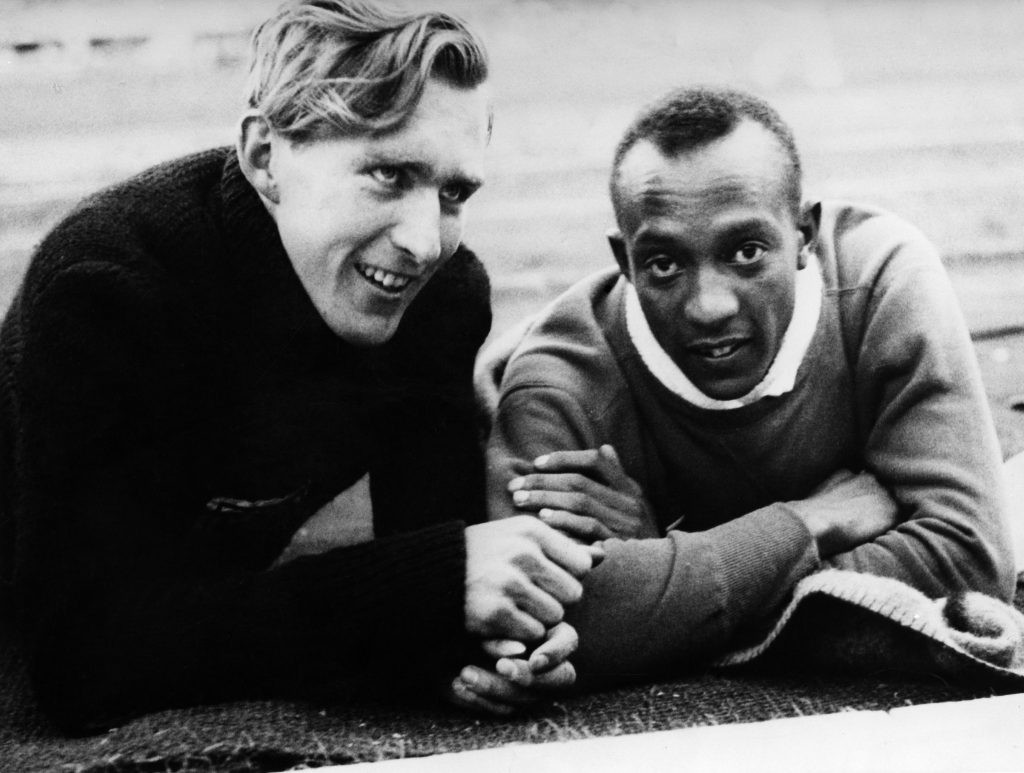 American athlete Jesse Owens (right) perhaps would never even have won one of his gold medals at the 1936 Berlin Olympics if it wasn't for an act of kindness from a fellow athlete, German long-jumper Carl Ludwig 'Luz' Long. (Photo by ullstein bild/ullstein bild via Getty Images)