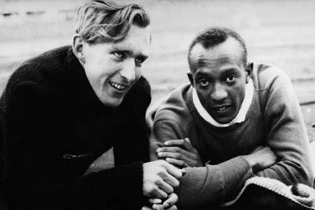 American athlete Jesse Owens and German long-jumper Carl Ludwig 'Luz' Long.