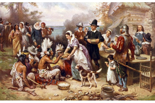 The First Thanksgiving in 1621, after a painting by Jean Leon Gerome; screen print, 1932. (Photo by GraphicaArtis/Getty Images)