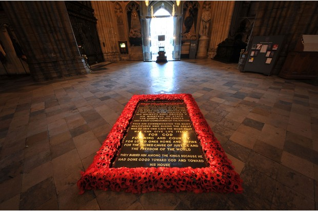 The memorial to the Unknown Warrior in the nave of Westminster Abbey, photographed in 2012. (Photo by Jim Dyson/Getty Images)