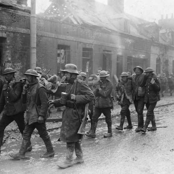 A group of wounded German and British soldiers make their way through the streets of St. Quentin. The Battle of the Somme was costly in terms of casualties, particularly for the British army; some 60,000 soldiers were lost in a single day of the July offensive. The first Allied offensive of the Battle of the Somme failed to break through German lines and thereby break the gridlock of the gruelling and costly trench warfare of the First World War. In September 1916 the British army used tanks for the first time on the Somme. A last major German offensive was launched on the Somme in March 1918 but was halted. By October the Battle of the Somme had ended: 650,000 Germans, 195,000 French and 420,000 British soldiers had been killed for an eight mile British advance over a period of four months (Photo by © Hulton-Deutsch Collection/CORBIS/Corbis via Getty Images)
