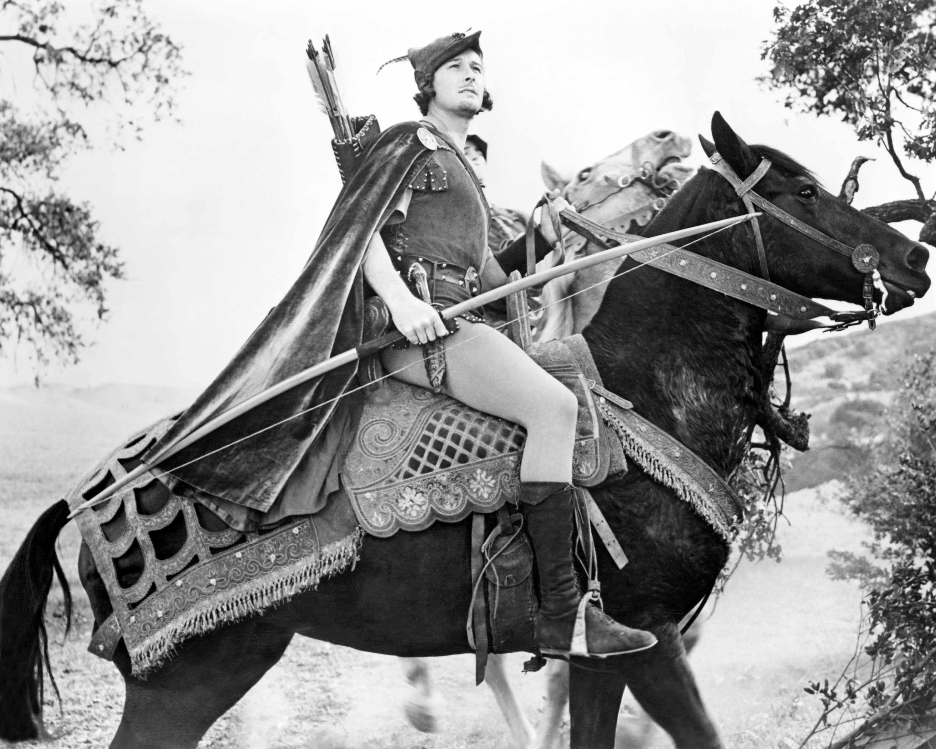 Actor Errol Flynn as Robin Hood in the film 'The Adventures of Robin Hood', 1938. (Photo by Silver Screen Collection/Getty Images)
