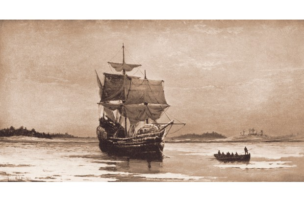 A 19th-century painting of the 'Mayflower' in Plymouth Harbor by William Halsall. (Photo by Stock Montage/Getty Images)
