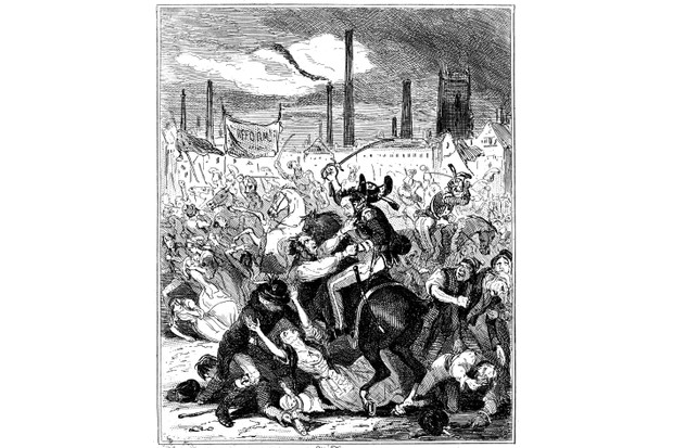 "An illustration by Phiz (Hablot Knight Browne) depicting the Peterloo Massacre, for Camden Pelham ""The Chronicles of Crime"", 1887, London. (Photo by Photo12/Universal Images Group via Getty Images)"
