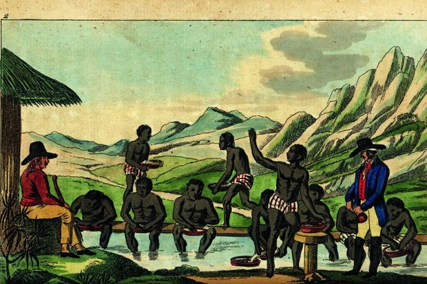 Rags and riches: Enslaved people wash diamonds in Brazil, guarded by armed overseers, in a German engraving of 1828. Diamonds were discovered in Minas Gerais state in the late 17th century. (Picture by Alamy)