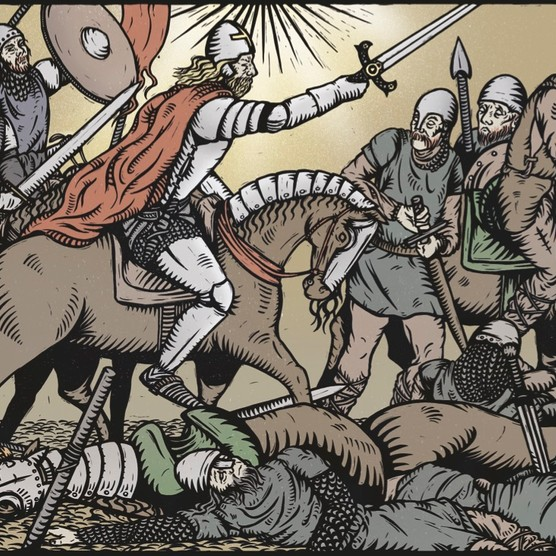 Our illustration shows King Arthur leading his troops into battle. The legendary warlord's victories over Saxon invaders first appear in a 'history' written in the ninth-century north Wales. (Illustration by Georgie Gozem for BBC History Magazine)