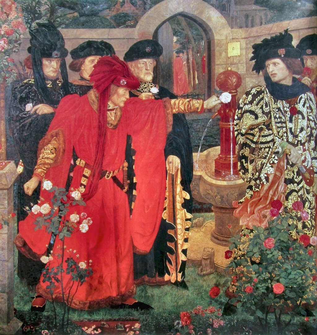 A 20th-century fresco 'Plucking the Red and White Roses in the Old Temple Gardens' by Henry Payne. It depicts a scene by Shakespeare, showing Edmund Beaufort, 2nd Duke of Somerset being challenged by Richard, 3rd Duke of York to choose between the white rose of York and the red rose of Lancaster. (Photo by Artefact / Alamy Stock Photo)