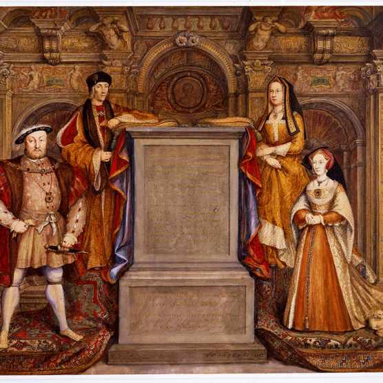 A watercolour version of a mural showing Henry VIII (front left) with his father, Henry VII, his wife Jane Seymour (front right) and his mother, Elizabeth of York. The mural, which aimed to validate Henry's right to the throne, adorned Whitehall Palace before being destroyed by fire. (Photo by Bridgeman Royal Collection)