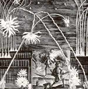 An engraving demonstrating the uses of gunpowder including mortars, cannon, rockets and fireworks. (Universal History Archive/Getty Images)