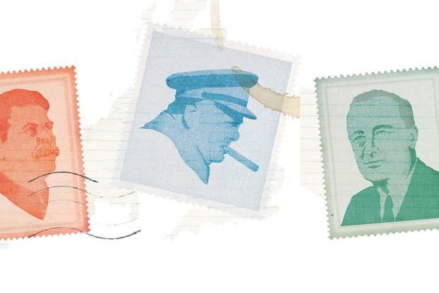 Winston Churchill, Josef Stalin and Franklin Roosevelt exchanged almost 700 messages during the Second World War. (Illustration by Hugh Cowling for BBC History Magazine)