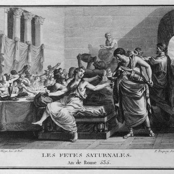 Illustration showing Roman Saturnalia banquet. (Photo by Alamy)