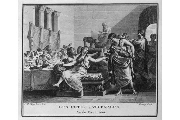 Illustration showing Roman Saturnalia banquet. (Photo by Alamy)
