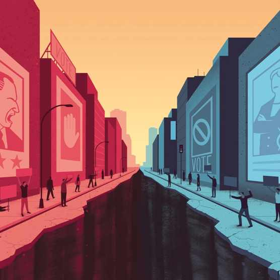 Are we returning to an age of political extremes? (Illustration by Davide Bonazzi for BBC World Histories Magazine)