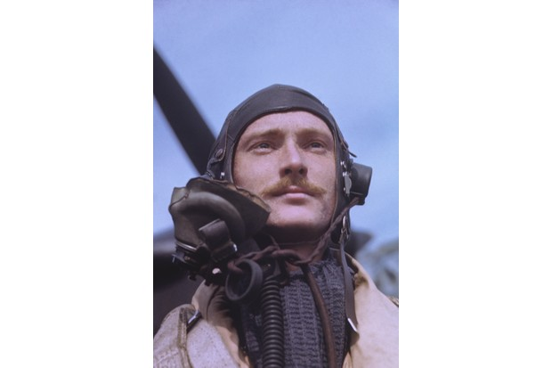 An RAF pilot c1940. By the Second World War the eccentric handlebar moustache had become strongly associated with the service. (Photo by Fox Photos/Hulton Archive/Getty Images)