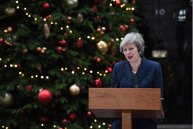 Prime minister Theresa May makes a statement outside Downing Street after it was announced that she will face a vote of no confidence, 12 December 2018. (Photo by Leon Neal/Getty Images)
