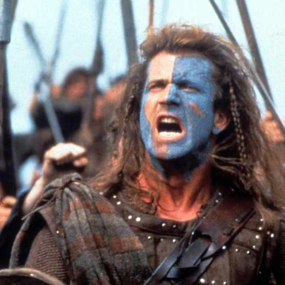 Mel Gibson in a scene from the film 'Braveheart', 1995. (Photo by 20th Century-Fox/Getty Images)