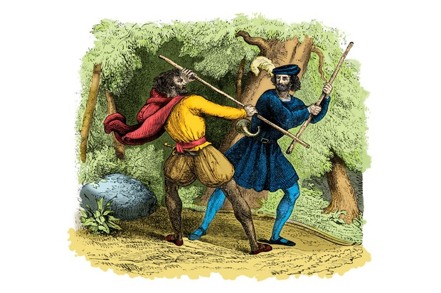Robin Hood fights a tanner in this illustration from the 18th century. (Photo by Culture Club/Getty Images)