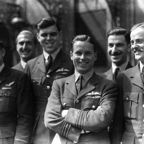 Wing Commander Guy Gibson VC with members of his squadron, known as 'The Dambusters'. (Photo by Keystone/Getty Images)