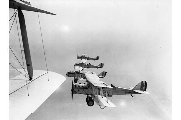 RAF biplanes in flight at Hendon Air Pageant, 1923. (Photo by Central Press/Getty Images)