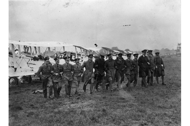 A group of RAF pilots at Hendon Aerodrome, London, in July 1927.(Photo by L. Blandford/Topical Press Agency/Getty Images)