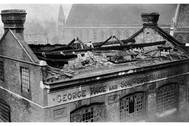 Damage in London following the first bombing raid by German zeppelins, May 1915. (Photo by The Print Collector/Print Collector/Getty Images)