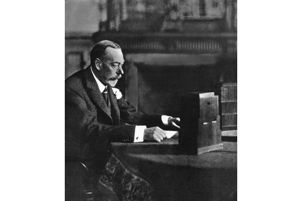 King George V makes a speech to the empire on Christmas Day, 1935. (Photo by The Print Collector/Print Collector/Getty Images)