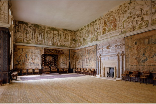 Inside the High Great Chamber at Hardwick Hall, where the walls are adorned with tapestries and a plasterwork frieze. (Photo by Getty Images)