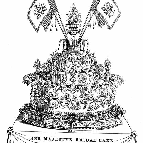 The cake made for the wedding of Queen Victoria and Prince Albert of Saxe-Coburg and Gotha, February 1840,  (Photo by Hulton Archive/Getty Images)