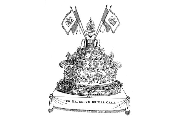 The wedding cake of Queen Victoria and Prince Albert was a gargantuan creation, weighing in at 300lbs, 9ft in circumference and 16 inches high. (Photo by Hulton Archive/Getty Images)