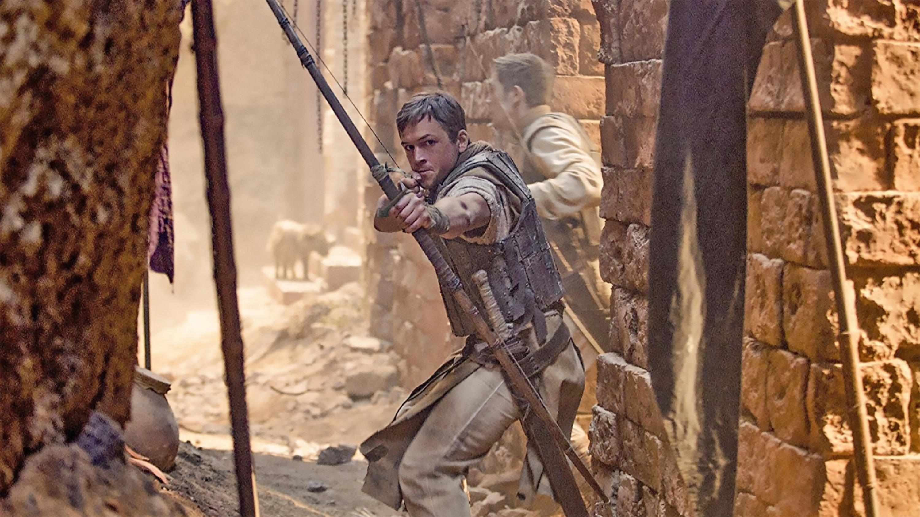 A still from the 2018 film 'Robin hood', in which actor Taron Egerton plays the legendary English archer. (Photo by Alamy)