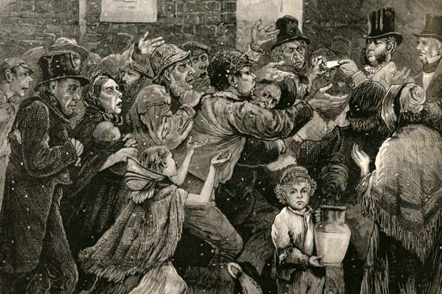 The unemployed scramble for soup tickets in an engraving from 'The Illustrated London News'. Elizur Wright observed the plight of the poor with a horrified fascination. (Photo by Massachusetts Historical Society/ Bridgeman)