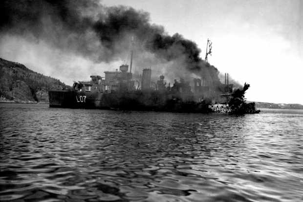 HMS Bittern on fire and severely damaged after a German air attack in Namsos fjord, 30 April 1940. Both sides sustained heavy losses in the battle of Norway but the German navy was less able to absorb these than its British foe. (Photo by Topfoto)