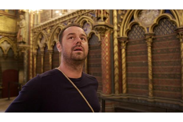 """Danny Dyer's visit to the Sainte-Chapelle in Paris """"culminated in this really wonderful, earnest, authentic reaction that I'm so glad was captured on film,"""" says Dr Emily Guerry. (Image Credit: BBC/Wall to Wall Media)"""