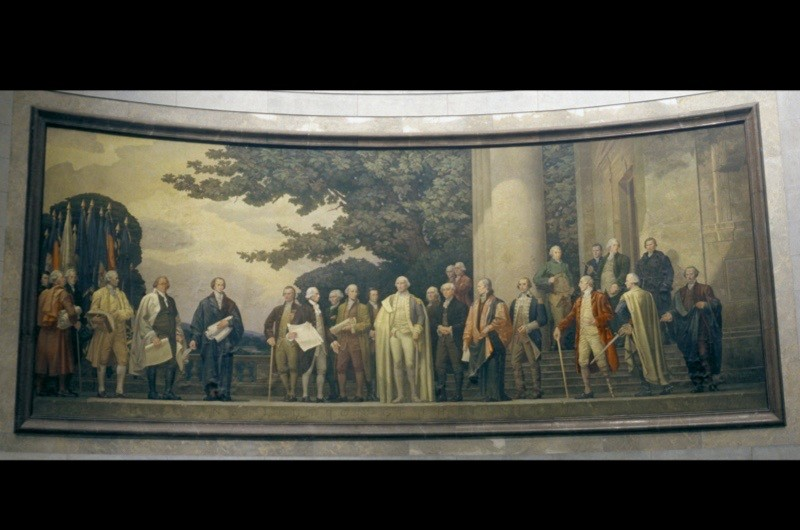 A painting of America's founding fathers inside the National Archives in Washington DC. (Photo by Visions of America/UIG via Getty Images)